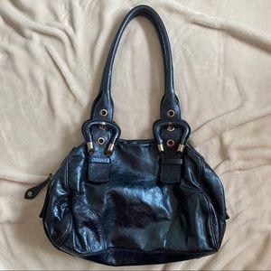 blue metallic bag